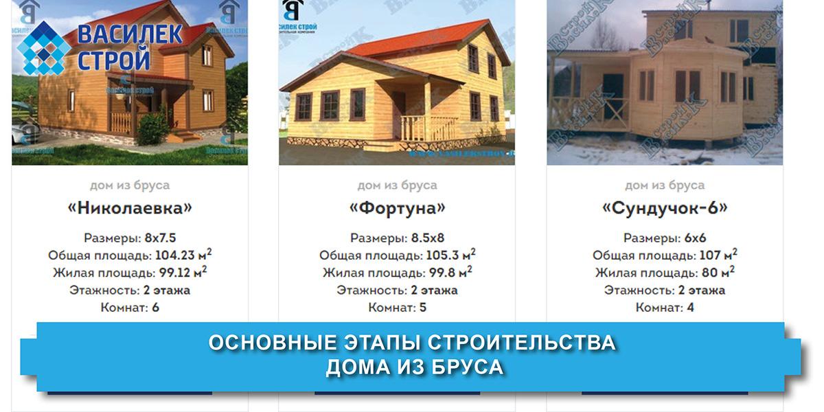 Основные этапы строительства дома из бруса